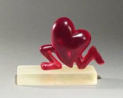 Running Heart, red, resin