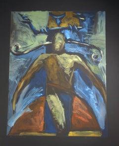 Gahn Portrait 120, contemporary Apache painting paper, black red blue green