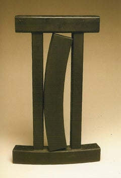 Jig, Guy Dill, abstract steel sculpture black indoor vertical  California