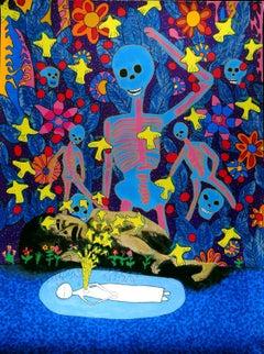 Esperanza (Hope), Eduardo Oropeza Day of the Dead, serigraph, birds, skeletons