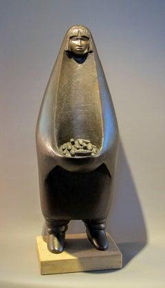 Corn Harvest, Pueblo woman,corn, bronze sculpture,Contemporary Native Art Houser