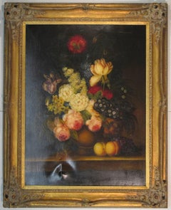 Still Life with Flowers and Fruit on a Table, French school
