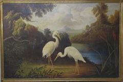 Cranes in Landscape, oil painting, Continental School, 19th Century, birds