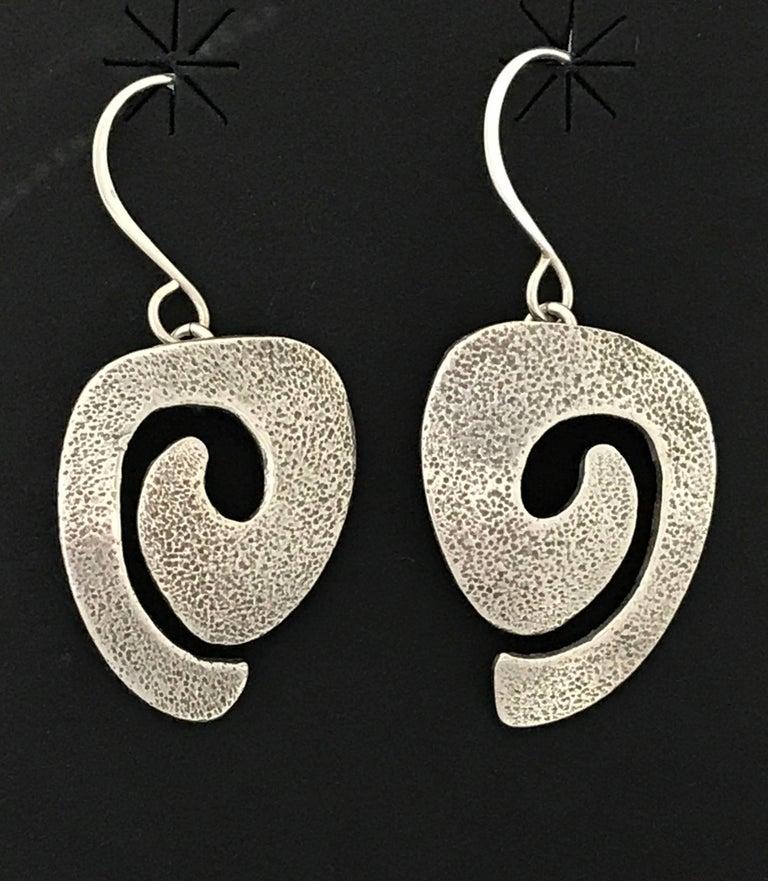 Swirl Earrings , silver, Navajo, spirals