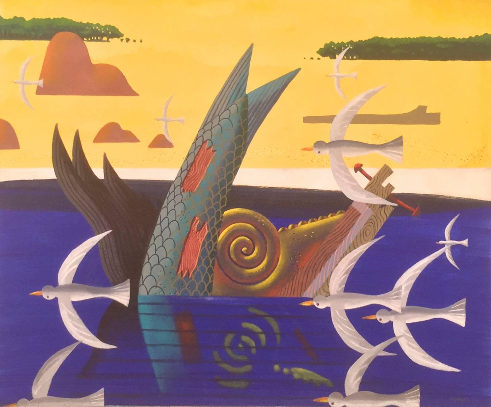 Figurehead Afloat Off 90 Mile Beach, Rodney Forbes oil painting, ocean Australia