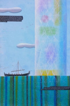 Saint Brendan and the Crystal Pillar, Rodney Forbes unique oil painting, ocean