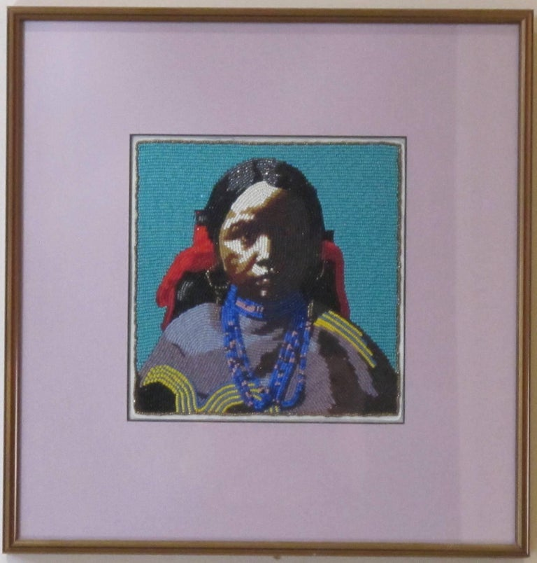 Jicarilla Girl, beaded portrait of Native American girl - Contemporary Mixed Media Art by Marcus Amerman