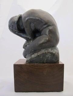 Indigo, bathing nude, bronze sculpture