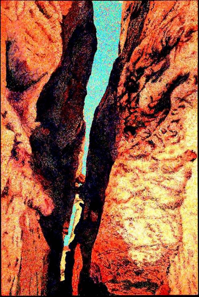 Gateway II, desert canyon landscape painting, oranges, blue John Hogan, Arizona - Painting by John Hogan
