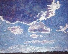 Summer Sky, sky painting, blues, texture, vivid color, western sky John Hogan