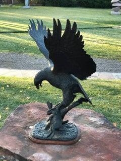 Hawk and Rabbit, wildlife scene bronze action sculpture hawk captures rabbit