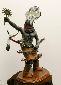 Apache Mountain Spirit Dancer 1, bronze sculpture, multicolored patina