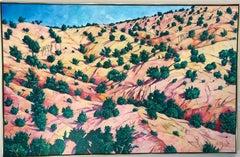 Around Santa Cruz, New Mexico landscape painting, horizontal, desert