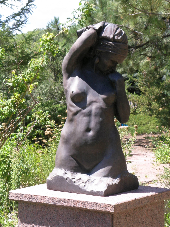 Awakening, by Paul Moore bronze sculpture, torso, nude woman