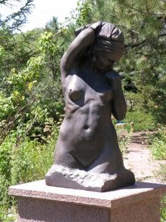 Awakening, bronze sculpture, torso, nude woman