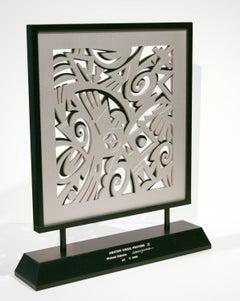 Awatovi Visual Prayers, II, Hopi overlay, silver, black, contemporary, Kabotie