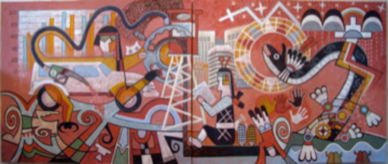 Michael Kabotie (Lomawywesa) Figurative Painting - Changing Values, Michael Kabotie, Hopi, mural, red, black, brown, social comment