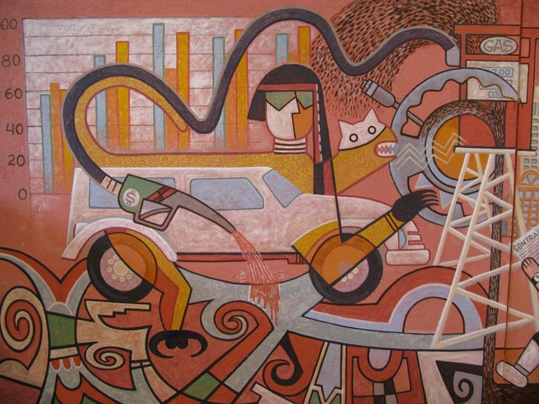 Changing Values, Michael Kabotie, Hopi, mural, red, black, brown, social comment - Painting by Michael Kabotie (Lomawywesa)