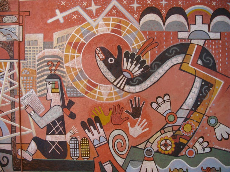 """""""Changing Values"""" is the overriding message and title of this brilliant mural by Michael Kabotie. In the lower right is the image of the world in a state of balance. Water, corn, frogs, and flowers symbolize a pristine earth. Different hands"""