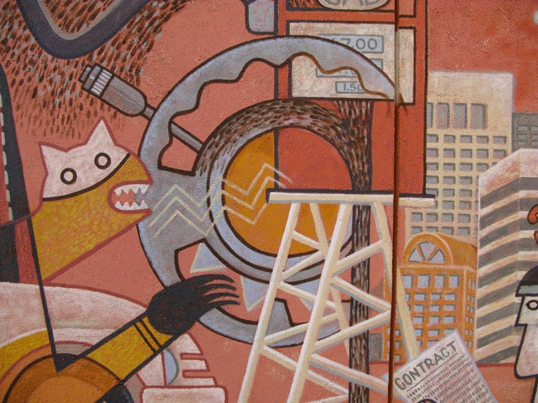 Changing Values, Michael Kabotie, Hopi, mural, red, black, brown, social comment - Contemporary Painting by Michael Kabotie (Lomawywesa)