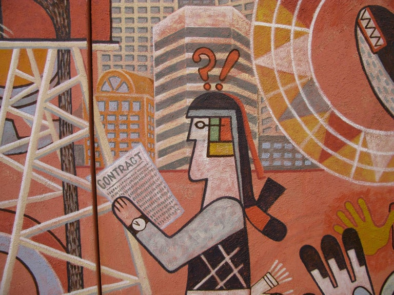 Changing Values, Michael Kabotie, Hopi, mural, red, black, brown, social comment - Brown Figurative Painting by Michael Kabotie (Lomawywesa)