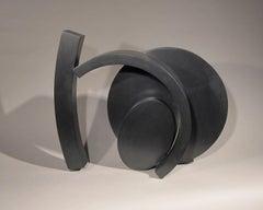 Echo, Echo, small abstract steel sculpture, unique, black powder coat finish