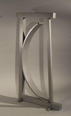 B-1-2, Guy Dill abstract silver sculpture, unique powder coat finish Los Angeles
