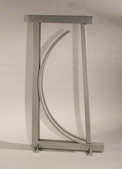 B-1-2, abstract silver sculpture, unique powder coat finish