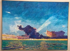 Sunset Sea Clouds, Key Largo, blue, pink, green, textured painting, light, large