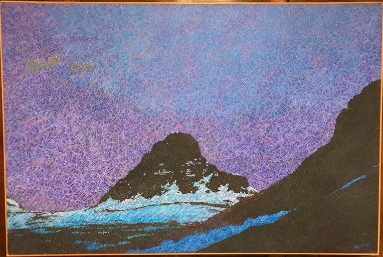 Night, purple, blue, black landscape painting, unique work on canvas - Mixed Media Art by John Hogan