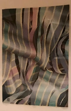 Illusion # 2 contemporary woven wool tapestry pink blue mauve