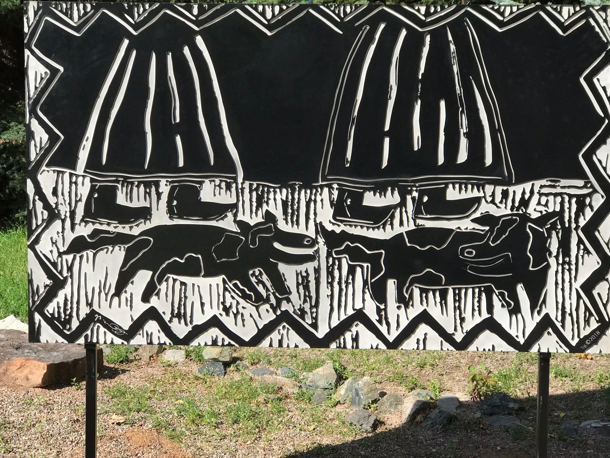 They Walk Together, Melanie Yazzie flat panel sculpture women dogs silver black