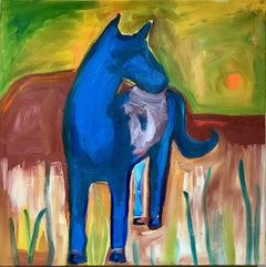 Quiet, oil on canvas painting horse green yellow orange brown red