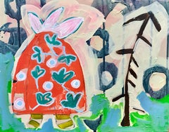 Spring, red, pink, blue painting abstract turtle