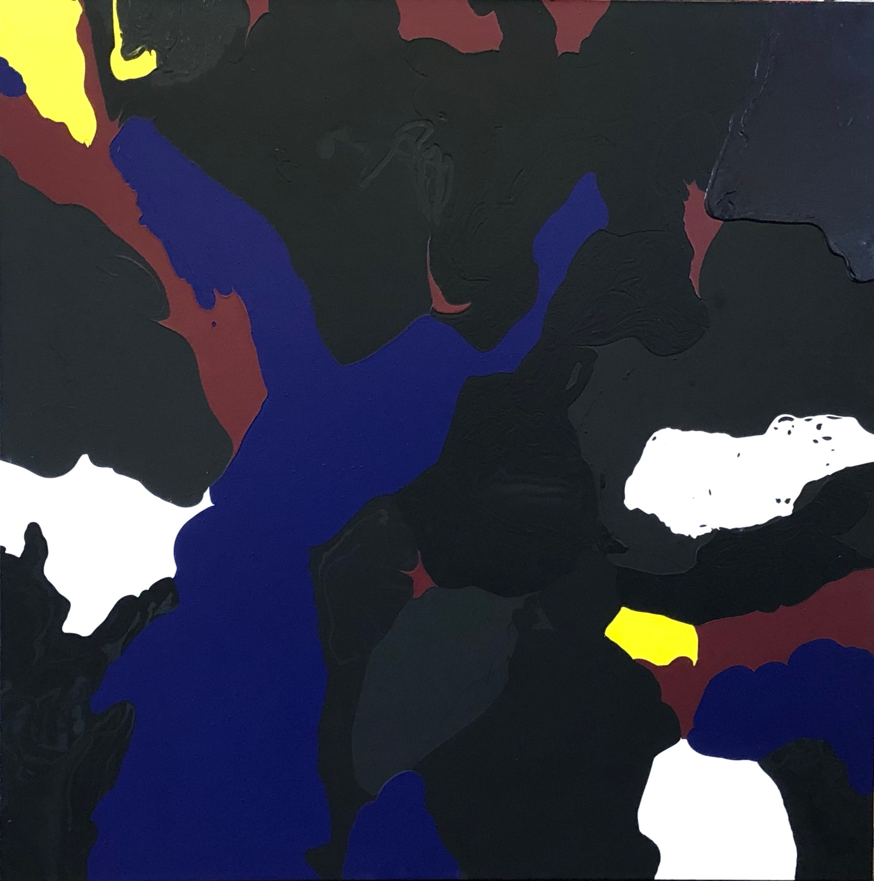 Scorched abstract painting by Glenn Green brown, blue, black, yellow, red, white