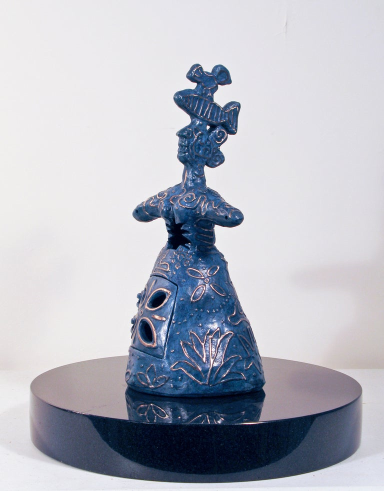 Melanie Yazzie Figurative Sculpture - Growing Stronger, bronze sculpture, woman with bird and fish heart and spine