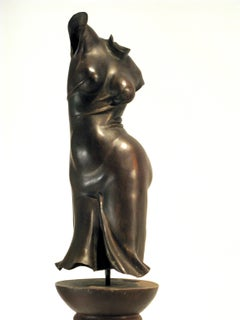 Fandango, female figurative bronze sculpture on welded steel pedestal