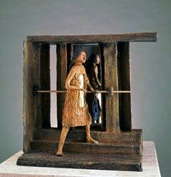The Ballerina Before the Mirror of Life, Eduardo Oropeza bronze sculpture brown