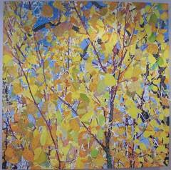 Aspens, mixed media painting, yellow leaves, blue sky, John Hogan
