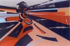 Eagle Dancer, Hopi dancer lithograph bold reds and blues by Dan Namingha Hopi