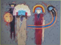 Summer Planting Chant, large horizontal Hopi kachina painting blue red yellow
