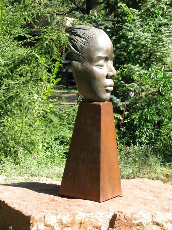 Reflections, bronze female bust sculpture contemplative peaceful Troy Williams For Sale 1