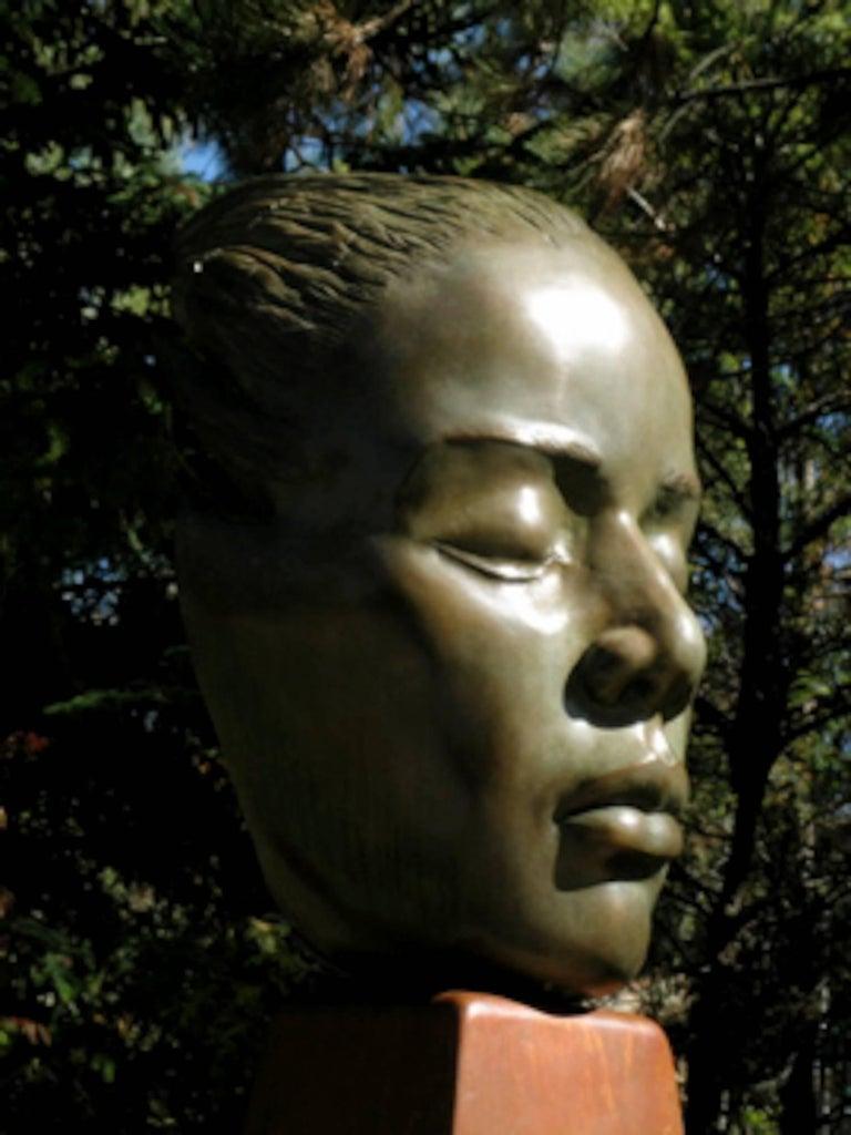 Reflections, bronze female bust sculpture contemplative peaceful Troy Williams - Gold Figurative Sculpture by Troy Williams