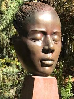 Reflections, bronze female bust sculpture contemplative Troy Williams