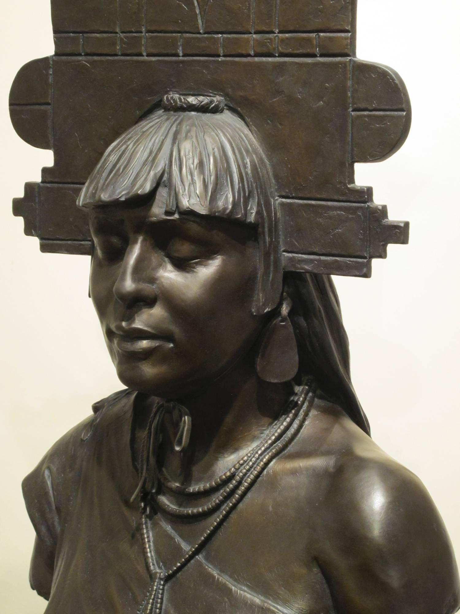 Tablita Paul Moore Pueblo Indian dancer, female headdress bronze limestone base