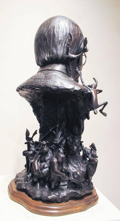 Chuck Jones, bronze portrait, Bugs Bunny, Roadrunner,Marvin the Martian PorkyPig - Contemporary Art by Paul Moore