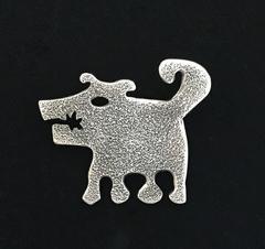 Sombra Girl, silver dog pendant on leather cord Navajo rez dog