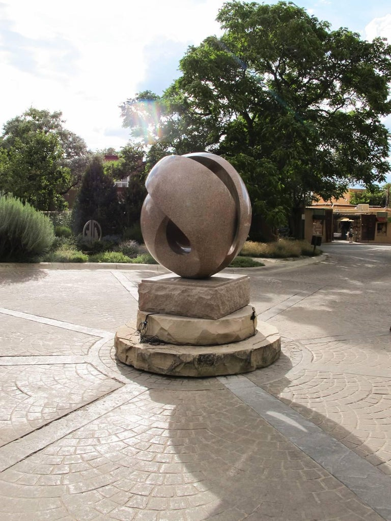 Embraced, Khang Pham-New, granite abstract, folded, sculpture, outdoor art - Black Abstract Sculpture by Khang Pham-New