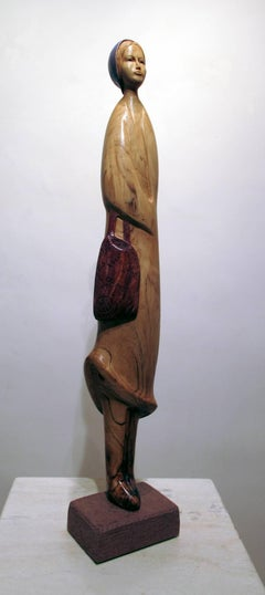 Organic Shopper, Troy Williams wood sculpture, female with grocery bag, Santa Fe