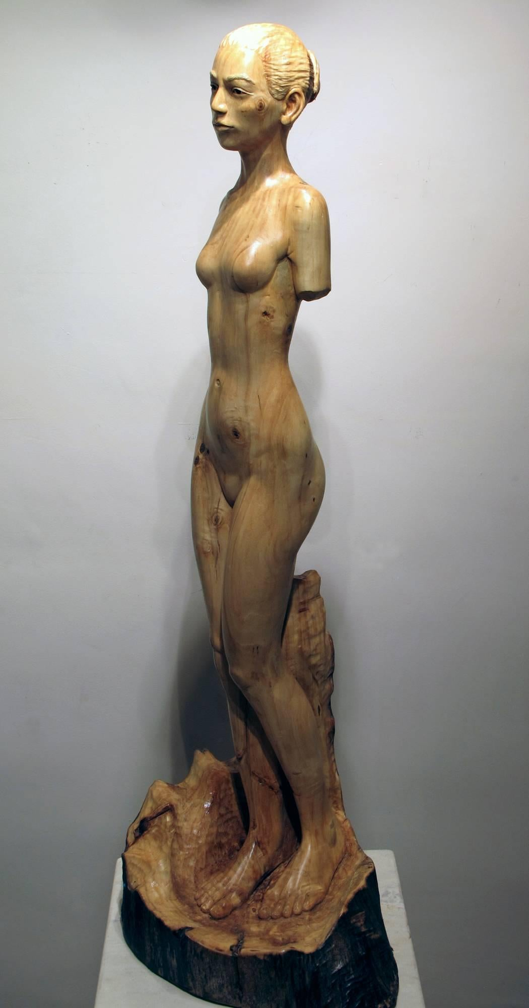Tree Athena by Troy Williams female nude blonde wood sculpture Santa Fe artist
